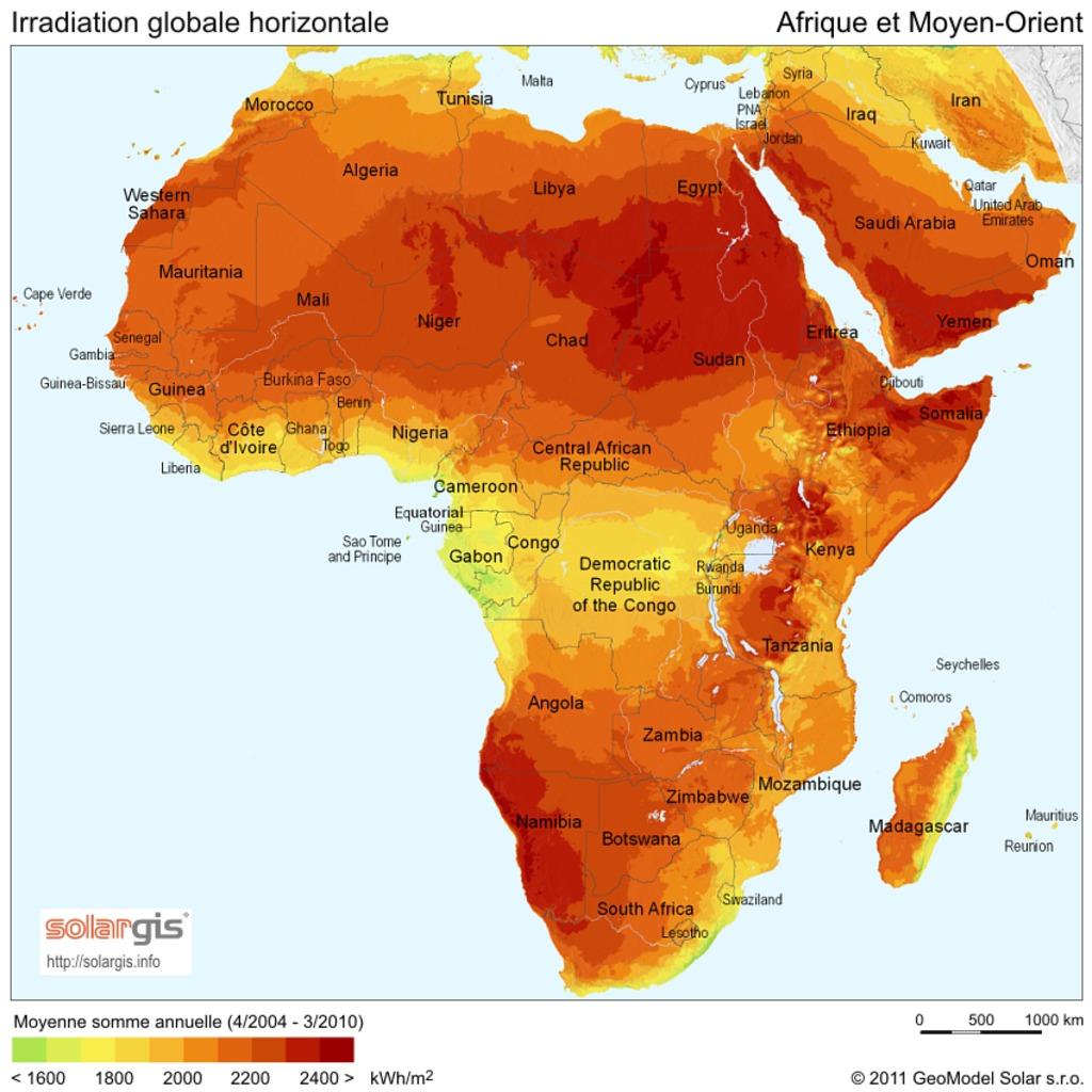 Carte De Lafrique Et Moyen Orient.Carte De La Radiation Solaire Pour L Afrique Et Moyen Orient En 2011