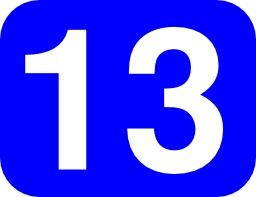 13 en blanc sur fond bleu. Source : http://data.abuledu.org/URI/50431318-13-en-blanc-sur-fond-bleu