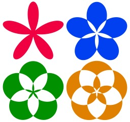 4 rosaces de couleur. Source : http://data.abuledu.org/URI/504902de-4-rosaces-de-couleur