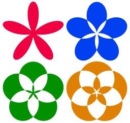4 rosaces de couleur. Source : http://data.abuledu.org/URI/504902de-4-rosaces-de-couleur