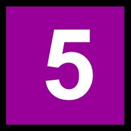 5 en blanc sur fond violet. Source : http://data.abuledu.org/URI/50c4e8b2-5-en-blanc-sur-fond-violet