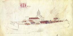Abbaye de Mozac d'après Guillaume Revel vers 1450. Source : http://data.abuledu.org/URI/545e25a2-abbaye-de-mozac-d-apres-guillaume-revel-vers-1450