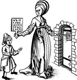 Abécédaire sur tablette de 1496. Source : http://data.abuledu.org/URI/53767fa1-abecedaire-sur-tablette-de-1496