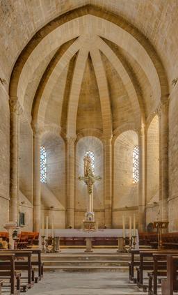 Abside de l'abbaye cistercienne de la Oliva à Carcastillo. Source : http://data.abuledu.org/URI/5701240d-abside-de-l-abbaye-cistercienne-de-la-oliva-a-carcastillo