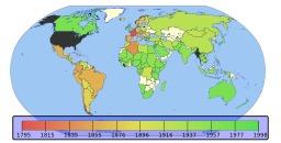 Adoption du système métrique dans le monde. Source : http://data.abuledu.org/URI/5392dd7a-adoption-du-systeme-metrique-dans-le-monde