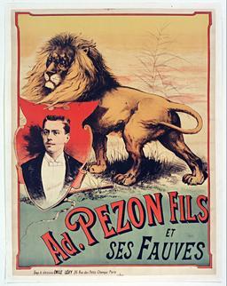 Adrien Pezon Fils et ses fauves en 1890. Source : http://data.abuledu.org/URI/5931881e-adrien-pezon-fils-et-ses-fauves-en-1890