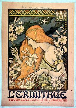 Affiche de 1897 pour la revue L'Ermitage. Source : http://data.abuledu.org/URI/54a88a18-affiche-de-1897-pour-la-revue-l-ermitage