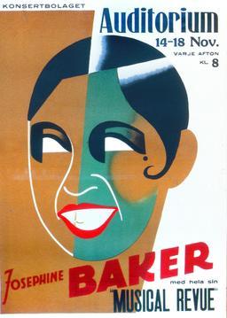 Affiche de Joséphine Baker à Stockholm en 1938. Source : http://data.abuledu.org/URI/53f12a39-affiche-de-josephine-baker-a-stockholm-en-1938