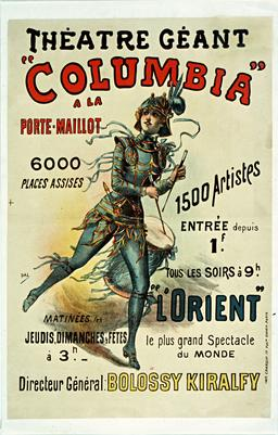 Affiche du théâtre Columbia en 1890. Source : http://data.abuledu.org/URI/59318a4b-affiche-du-theatre-columbia-en-1890