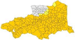 Aire d'extension du catalan dans les Pyrénées Orientales. Source : http://data.abuledu.org/URI/52bc4edb-aire-d-extension-du-catalan-dans-les-pyrenees-orientales
