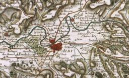 Alby sur la carte de Cassini en 1780. Source : http://data.abuledu.org/URI/596d6556-alby-sur-la-carte-de-cassini-en-1780