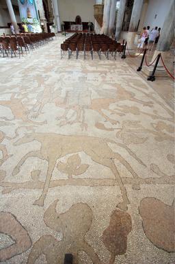 Alexandre le grand sur la mosaïque d'Otrante. Source : http://data.abuledu.org/URI/54b96ad4-alexandre-le-grand-sur-la-mosaique-d-otrante
