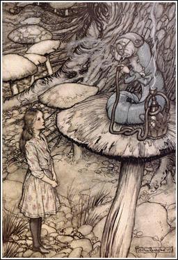 Alice et la chenille sur son champignon. Source : http://data.abuledu.org/URI/532d6f31-alice-et-la-chenille-sur-son-champignon
