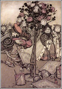 Alice, la reine et les jardiniers. Source : http://data.abuledu.org/URI/532d9f62-alice-la-reine-et-les-jardiniers