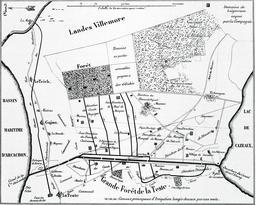 Aménagement de la plaine de Cazaux en 1850. Source : http://data.abuledu.org/URI/557d77d4-amenagement-de-la-plaine-de-cazaux-en-1850