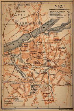 Ancien plan de la ville d'Albi en 1914. Source : http://data.abuledu.org/URI/596d64c7-ancien-plan-de-la-ville-d-albi-en-1914