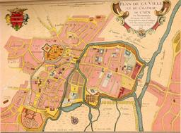 Ancien plan de la ville de Caen en 1705. Source : http://data.abuledu.org/URI/56451372-ancien-plan-de-la-ville-de-caen-en-1705