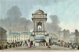 Ancienne fontaine des Innocents en 1808. Source : http://data.abuledu.org/URI/587034cd-ancienne-fontaine-des-innocents-en-1808
