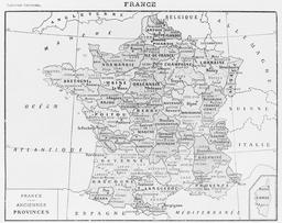 Anciennes provinces de France. Source : http://data.abuledu.org/URI/56c319e7-anciennes-provinces-de-france