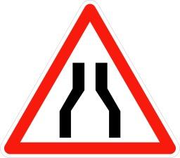 Annonce de chaussée rétrécie. Source : http://data.abuledu.org/URI/5092f6fb-annonce-de-chaussee-retrecie