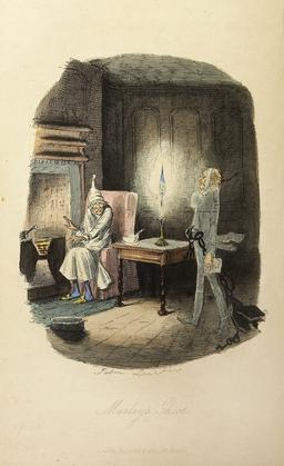 Apparition du fantôme de Scrooge. Source : http://data.abuledu.org/URI/53442b79-apparition-du-fantome-de-scrooge