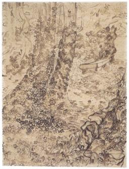 Arbres et lierre dans le jardin de l'asile. Source : http://data.abuledu.org/URI/551492fb-arbres-et-lierre-dans-le-jardin-de-l-asile