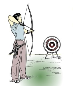 Archer avec cible. Source : http://data.abuledu.org/URI/53eba531-archer-avec-cible