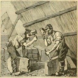 Ardoisiers dans une carrière au XIXème siècle. Source : http://data.abuledu.org/URI/524ebf1b-ardoisiers-dans-une-carriere-au-xixeme-siecle