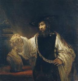 Aristote et le buste d'Homère. Source : http://data.abuledu.org/URI/50c3bb50-aristote-et-le-buste-d-homere