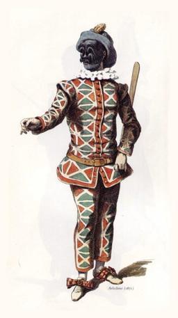 Arlequin en 1670. Source : http://data.abuledu.org/URI/51c14d01-arlequin-en-1670