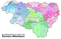 Arrondissements et cantons des Pyrénées Atlantiques. Source : http://data.abuledu.org/URI/50788ee4-arrondissements-et-cantons-des-pyrenees-atlantiques