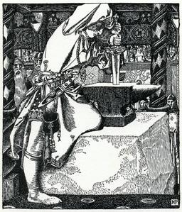 Arthur et Excalibur en 1903. Source : http://data.abuledu.org/URI/59503f66-arthur-et-excalibur