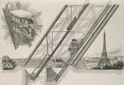 Ascenseurs de la Tour Eiffel en 1889. Source : http://data.abuledu.org/URI/58704c20-ascenseurs-de-la-tour-eiffel-en-1889