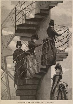 Ascension de la tour Eiffel par les escaliers en 1889. Source : http://data.abuledu.org/URI/53446fc8-ascension-de-la-tour-eiffel-par-les-escaliers-en-1889