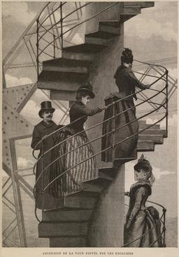 Ascension de la tour Eiffel par les escaliers en 1889. Source : http://data.abuledu.org/URI/58703769-ascension-de-la-tour-eiffel-par-les-escaliers-en-1889