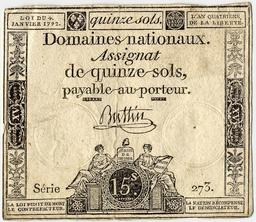 Assignat de 15 sols. Source : http://data.abuledu.org/URI/50afe39f-assignat-de-15-sols