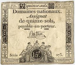 Assignat de 15 sols. Source : http://data.abuledu.org/URI/50fd48db-assignat-de-15-sols