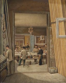 Atelier de fabrication de cadres en 1900. Source : http://data.abuledu.org/URI/538994ee-atelier-de-fabrication-de-cadres-en-1900