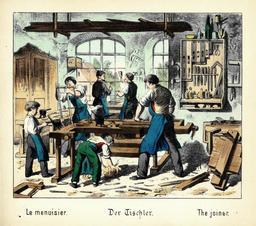 Atelier de menuisier du XIXème siècle. Source : http://data.abuledu.org/URI/51a1303e-atelier-de-menuisier-du-xixeme-siecle