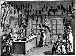 Atelier de plumassier XVIIIe siècle. Source : http://data.abuledu.org/URI/59430a97-atelier-de-plumassier-xviiie-siecle