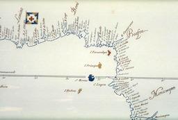 Atlas de la côte occidentale d'Afrique en 1601. Source : http://data.abuledu.org/URI/582f7252-atlas-de-la-cote-occidentale-d-afrique-en-1601