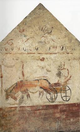 Attelage de mules antique. Source : http://data.abuledu.org/URI/517e6765-attelage-de-mules-antique