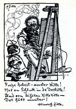 Autoportait de Heinrich Zille au travail. Source : http://data.abuledu.org/URI/5389d3ae-autoportait-de-heinrich-zille-au-travail