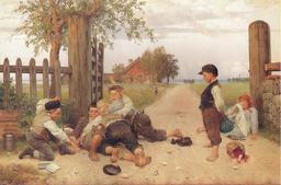 Bagarre d'enfants à la campagne en 1885. Source : http://data.abuledu.org/URI/534465c6-bagarre-d-enfants-a-la-campagne-en-1885