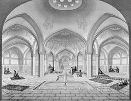 Bains publics de Kashan en 1840. Source : http://data.abuledu.org/URI/5652262d-bains-publics-de-kashan-en-1840