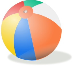Ballon de plage multicolore. Source : http://data.abuledu.org/URI/54067508-ballon-de-plage-multicolore