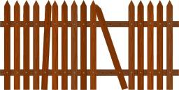 Barrière en bois marron cassée. Source : http://data.abuledu.org/URI/53ccfc62-barriere-en-bois-marron-cassee