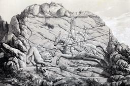 Bas-relief de la chasse au lion en Iran en 1840. Source : http://data.abuledu.org/URI/53dfc79c-bas-relief-de-la-chasse-au-lion-en-iran-en-1840