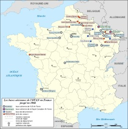 Bases de l'OTAN en France de 1951 à 1966. Source : http://data.abuledu.org/URI/520937db-bases-de-l-otan-en-france-de-1951-a-1966
