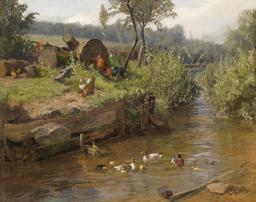 Basse-cour en bord de ruisseau. Source : http://data.abuledu.org/URI/52109635-basse-cour-en-bord-de-ruisseau